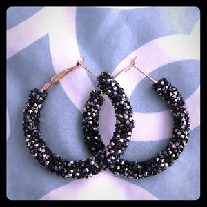 Sparkly Black Hoops! NWOT